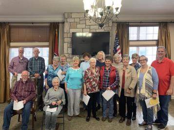 "The Silverdale Baptist Church senior choir takes a bow following a performance at The Lantern at Morning Pointe Alzheimer's Center of Excellence, Chattanooga. The local choir regaled the memory care community's residents with classic hymns and other songs from the past. ""Our residents enjoyed singing along and visiting with the choir members. Their visit definitely brightened our day,"" said Lantern Program Director Danielle Nelson."