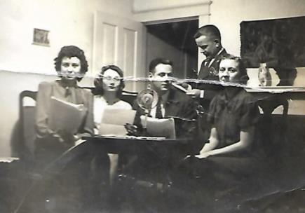 Beatrice Hickman Keefe is on the left in this photo of her with fellow radio team members