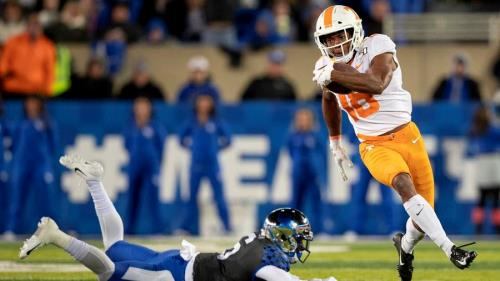 Tennessee's Nigel Warrior, shown in action, has been named a PFF All-American honorable Mention.