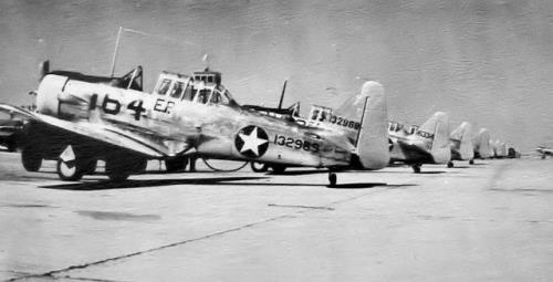 AT-6 planes lined up at Eagle Pass, Texas, during World War II era