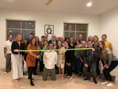 Green ribbon cutting celebration for the completion of the green|light program occurred at green|spaces' monthly Green Drinks in December
