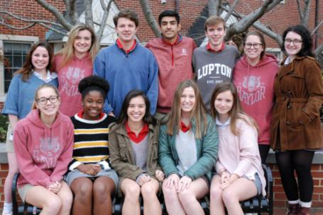 Twelve juniors have been selected for Baylor's Abshire Leadership Fellows Program. They are, seated, from left, Morgan Burnette, Lea Hunter, Defne Bozbey, Julia Hartman, and Maddy Toledano. Standing, from left, Caroline Webb, Kennedy Watson, Nathan Webb, Saad Mohammad, Ridley Browder, Kate King, and Leah Kessler.