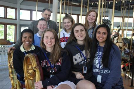 Honors physics students and Mr. Haynes at the Coolidge Park Carousel