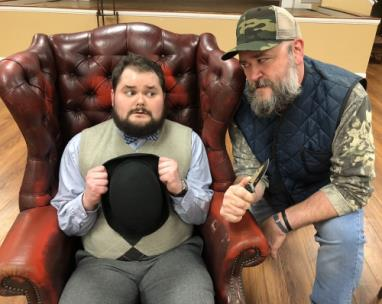 The Ringgold Playhouse will open its 2019 Season Thursday with the classic comedy The Foreigner. Actors Will Park, left, and Chuck Nalley work a scene together during a recent rehearsal.