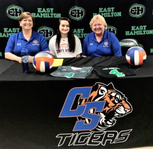 Kayla Ford from East Hamilton High School, seated between Chattanooga State assistant coach Robin Jacks Moore and head coach Janet Tate, has signed to play volleyball at Chattanooga State Community College for 2019-2020. While playing volleyball at East Hamilton, Kayla was selected to the 2018 All District Team; her team was District Champs in 2017 & 2018, Ooltewah High School Tournament Champs In 2018, 5th place in State Tournament in 2017, and 3rd place in State Tournament in 2018. She has played Club Volleyball for C-4 for 4 years where they have been K2 Tournament Champs 2018, 2nd Place at Region Tournament 2018, and West Icebreaker Tournament Champions 2019. Also, she has been a high school track member 2017-2019, Captain of the track team, 