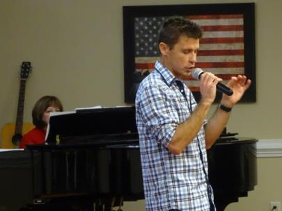 Morning Pointe of Chattanooga – Shallowford volunteers Pat Vaughn and Michael Prettyman of Graceworks Church perform for the assisted living community's residents