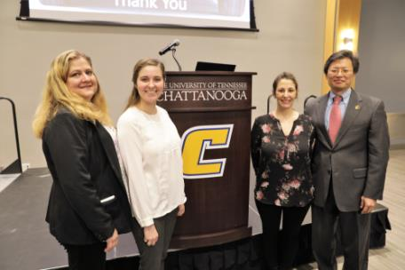 Pictured from left are Lyn Potter, Chattanooga State Department Head of Engineering & Information Technologies; Amanda Wade, BASF Process Engineer and UTC graduate; Ashley Thompson, BASF Process Engineer and UTC graduate; Dr. Daniel Pack, Dean of the UTC College of Engineering & Computer Science.