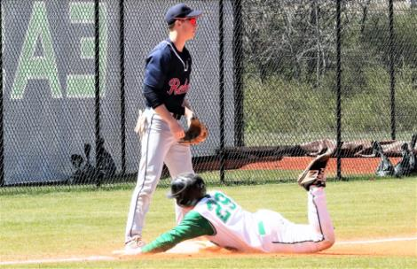 Bradley Garland, a transfer from Baylor and the nephew of East Hamilton baseball coach Steve Garland, slides safely into third with a third-inning triple against Franklin County on Saturday. Garland scores shortly after his three-bagger on a wild pitch.