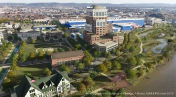 Tall office tower is planned at the center of an ambitious redevelopment of the 112-acre Alstom property along the Tennessee River. A canal is to be cut into the mixed-use development.