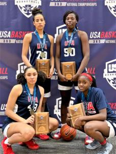 TGB, with two local high school standouts, captured the USA Basketball 3X3 U18 national championship Sunday in Colorado Springs, Colorado. Clockwise from top left, Madison Hayes, East Hamilton High; Olivia Cochran, Carver High, Columbus, Georgia; Raven Johnson, Westlake High, Atlanta and Treasure Hunt, Hamilton Heights.