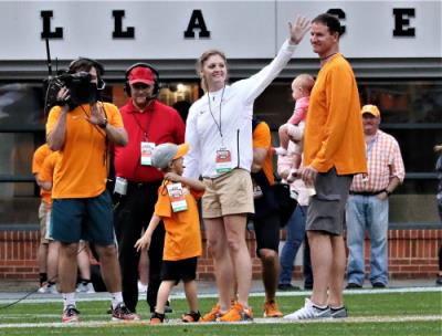 New Lady Vols' head coach Kellie Harper and family are introduced to the fans at the Orange and White game Saturday at Neyland Stadium.
