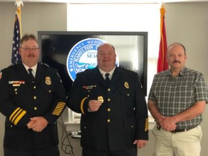 HCEMS Assistant Chief Wade Batson, Captain Scott Powell, and Deputy