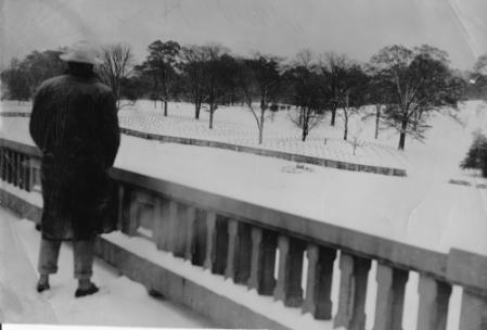 George Burnham on the Betterton Bridge overlooking the National Cemetery on Baily Avenue