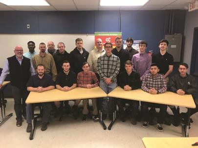 Cohort 1 - pictured, from left to right: (seated) Kyle McCowan, Dillon Buron, Jack bird, Andres Moreno, Casey Davis; (standing, front row) Dr. Tim Wilson, Department chair and faculty of Advanced Technologies, Tyler Adam, Joseph Willimas, Ty Baker, Rodger Hill, Tyler Westmoreland, Jesse Thomason, Conner Hamilton and Zachary Presley; (standing, back row) Gabriel Hewitt, Tracey Gibson and Thomas DeCook.