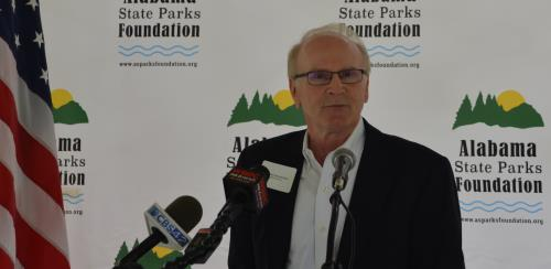 Dan Hendricks, president of the new Alabama State Parks Foundation, discusses the mission of the fund-raising group at a Thursday press conference at Oak Mountain State Park in Pelham.