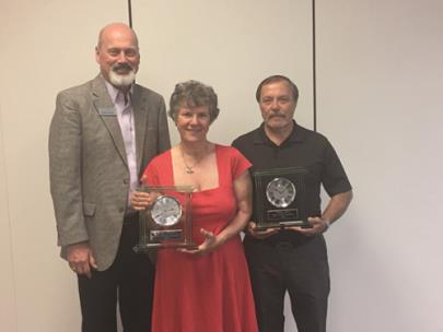 Pictured from left to right are Dr. Bill Seymour, CSCC president; Emeritus Judy Norton, 18 years of service; Tony Fox, 37 years of service. Not pictured: Judy Price, 30 years of service; Alejandra Hoffer, 15 years of service and Mary Calfee, 22 years of service.