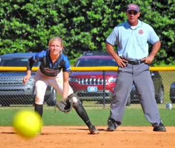 GPS shortstop Kaitlyn Songer waits for a ground ball.