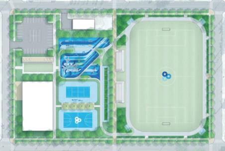 Rendering shows the placement of key features envisioned for the BlueCross Healthy Place at Highland Park
