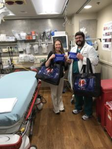 "Drs. Rebecca Martin and Jeffery Galyon show the ""Opioid Overdose Reversal Kits"" that are being distributed to patients in need at Erlanger Baroness Emergency Department"