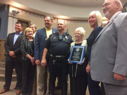 East Ridge officials thank longtime school crossing guard Carol Courtney