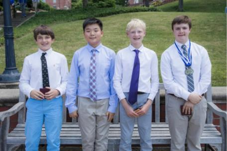 McCallie sixth-grader Cullen Mazo, seventh-graders Kohen Kilburn and Harry Carter, and eighth-grader Scotty Brown were awarded the T.E.P. Woods Academic Medal of Excellence during the 2019 Middle School Awards Day for having the highest grade point averages in their class