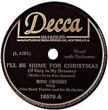 Old 'I'll Be Home For Christmas' record label