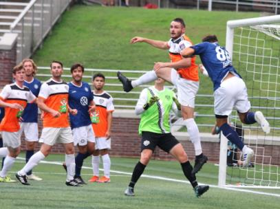 Action in front of the Inter Nashville FC goal in the first half.