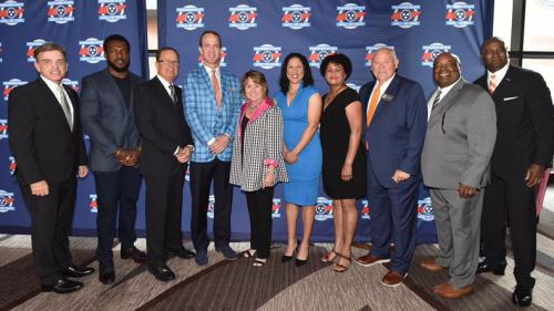 Commissioner Mark Ezell, Tennessee Department of Tourist Development; Patrick Willis, 2019 Inductee; David Cutcliffe, 2019 Inductee; Peyton Manning, 2019 Inductee; Amy Adams Strunk, 2019 Tennessean of the Year; Kara Lawson, 2019 Inductee; Renee Buckner, daughter of George Taliaferro, 2019 Inductee; Phillip Fulmer, University of Tennessee Director of Athletics and Chairman of the Tennessee Sports Hall of Fame; Kippy Brown, 2019 Inductee; Charles Davis, 2019 Inductee.