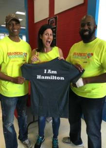 Eric McKenzie, community engagement specialist; Alison Lebovitz and Christopher James, principal of Brainerd High School
