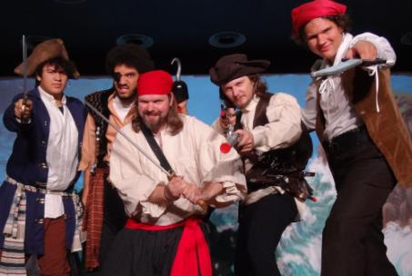 Pirates, from left, Sebastian Galanto, Theo Parkey, Justin Wahlne, Isaac Truex and Ethan Kmett