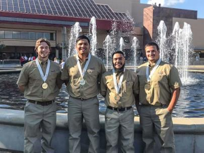 2019 National Champion TeamWorks squad from Georgia Northwestern Technical College. From left, Jesse Flanagan - Polk County, Gabriel Lopez - Bartow County, Joel Paez - Whitfield County, and Ryan Banks - Whitfield County.