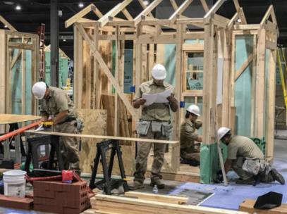 The Georgia Northwestern Technical College TeamWorks squad working on their National SkillsUSA Competition worksite in Louisville, Kentucky. Shown, from left, are Ryan Banks (Whitfield County), Gabriel Lopez (Bartow County), Jesse Flanagan (Polk County), and Joel Paez (Whitfield County).