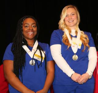 Kimberlee Autumn Hall (right) won the gold medal in Practical Nursing and Brittany Square (left) won the silver medal in Practical Nursing at the 2019 SkillsUSA Georgia competition in March. Ms. Hall went on to win the bronze medal at the SkillsUSA's national competition in June.