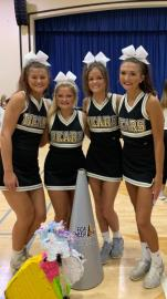 The varsity football cheerleading squad at Bradley Central High School had its four seniors each take home big awards from this year's FCA cheer summer camp. From left, Elizabeth Anne Wilson, Makenna Baker, Gracie Hamilton and Kamryn Woody .