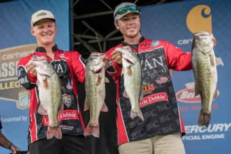 Cole Sands and Conner Dimauro of Bryan College take the lead on Day 1 of the Carhartt Bassmaster College Series Championship presented by Bass Pro Shops at Lake Chickamauga out of Dayton, Tn., with a total of 24 pounds, 9 ounces.