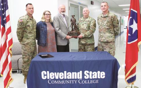 Pictured, from left to right: SSG Joseph Baydoun, STRONG Act Outreach NCO; Tishauna Hoffman, Veterans Services coordinator; Dr. Bill Seymour, CSCC president; Lt. Col. John Rigdon, commander of Recruiting and Retention Battalion of Tennessee Army National Guard; and Command SGM Michael Owens.