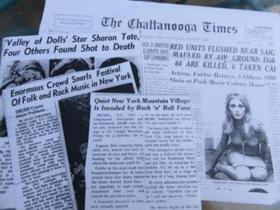 Chattanooga newspaper clippings of Manson and Woodstock events