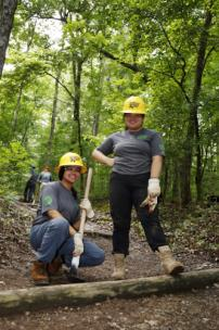 Youth service corps crews at work in Tennessee's Red Trail at Chickamauga & Chattanooga National Military Park