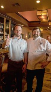 The Bald Headed Bistro will celebrate its 15th birthday on Saturday. Will Jones, partner and chief manager, on left, and Executive Chef and Partner Wesley True.