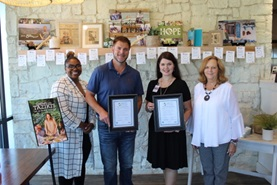 Taziki's Mediterranean Café Marketing Director Keytoya Brooks and local Owner/Operator Brad Emendorfer, shown holding BEST Partner certificates with Hopewell Elementary School Principal Elizabeth Kaylor and Sherry Crye, Chamber workforce development director