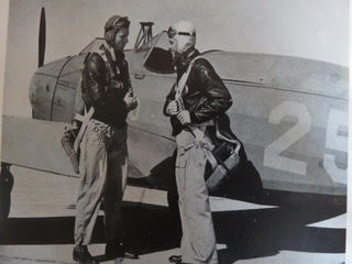 World War II military promotional photo shows flyers by PT-19 like Wayne Shearer flew