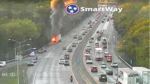 A semi on fire closed I-24 eastbound at Germantown Road for period of time Sunday evening