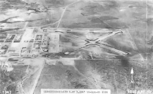 Aerial view of Eagle Pass field during World War II