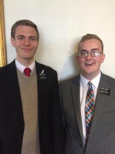 Elder Ryan Larsen, on left, and Elder Noah Farley