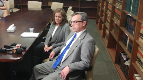 Gina Sanjines and District Attorney Neal Pinkston