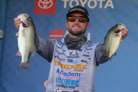 Stetson Blaylock, of Benton, Ark., is leading after Day 2 of the 2020 Guaranteed Rate Bassmaster Elite at Chickamauga Lake with a two-day total of 28 pounds, 1 ounce.