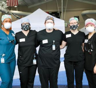 Pictured, left to right, are second year dental hygiene students Ciera Storey, Caroline Kaplan, Landon Harris, Kyra Sheron and Joanna Rush who participated in a recent Remote Area Medical event
