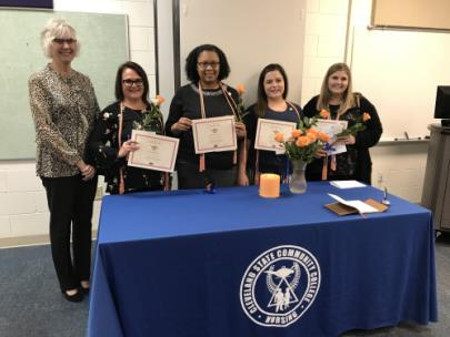 Pictured, from left, are Dr. Cynthia Waller and CSCC student honorees Gena Bagwell, Jasmine Celeste, Breanna Garrick and Lauren Bodenhamer