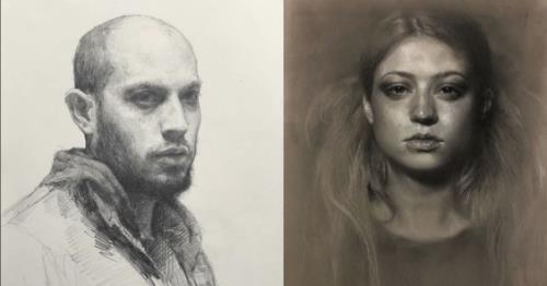Drawings by (left) Sean Cheetham and (right) Kate Zambrano