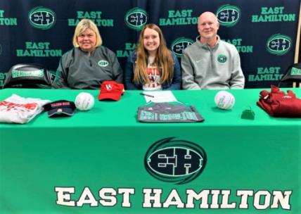 Syvana Rogers, center, of East Hamilton, recently signed a scholarship to continue her softball career at Walters State Community College. Shown with Rogers are Norma Nelson, left, Lady Hurricanes head coach, and Hunter Gremore, assistant coach.